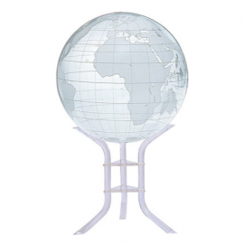 Clear & Frosted 30in. Diameter Sphere on Floor Stand Base