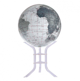 Clear & Silver 30in. Diameter Sphere on Floor Stand Base