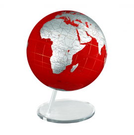 Red & Silver 12in. Diameter Sphere on Circle Base