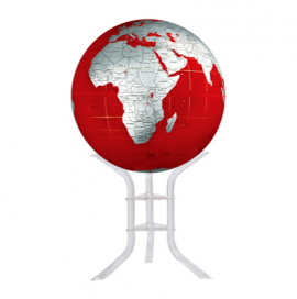 Red & Silver 30in. Diameter Sphere on Floor Stand Base